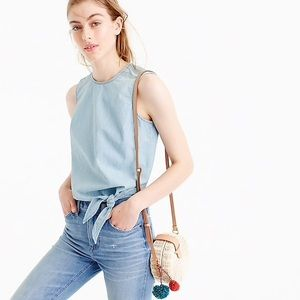 J Crew Side Tie Chambray Top NWT
